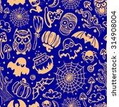 vector vintage halloween... | Shutterstock .eps vector #314908004