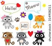 Stock vector set of cute cartoon kittens vector illustration 314908211