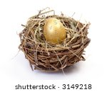 Golden egg with euro, dollar, yen and pound sterling symbols in bird's nest over white background - stock photo