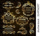 set  gold frame and vintage... | Shutterstock .eps vector #314956397