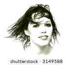 pretty woman face in duotone   Shutterstock . vector #3149588