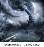 Small photo of Powerful Tornado - Dramatic Destruction