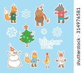 vector winter set with cartoon... | Shutterstock .eps vector #314976581