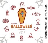 happy halloween day icon set... | Shutterstock .eps vector #314976635