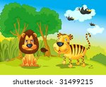 illustration of lion and tigers ...   Shutterstock . vector #31499215