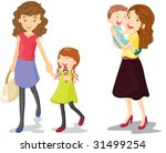 illustration of kids with mummy | Shutterstock . vector #31499254