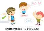 illustration of of boys showing ... | Shutterstock . vector #31499320