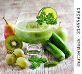 refreshing green detox smoothie ... | Shutterstock . vector #314996261