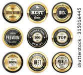 Collection of round black badges with gold border