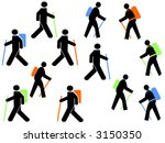colourful hikers with walking... | Shutterstock .eps vector #3150350