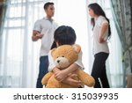 sad child from this father and... | Shutterstock . vector #315039935