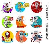 nine characters skeletons in... | Shutterstock . vector #315055574