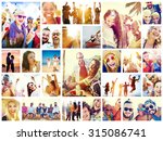 collage diverse faces summer... | Shutterstock . vector #315086741