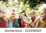 blurred diverse people friends... | Shutterstock . vector #315098405