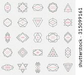 Set geometric signs, labels, and frames. Triangles. Line design elements, vector illustration | Shutterstock vector #315099161