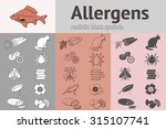 allergen set. fish  cat  insect ... | Shutterstock .eps vector #315107741
