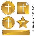 crucifix icon set   gold satin... | Shutterstock .eps vector #31512691