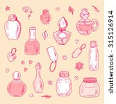 vector glass flasks. perfume... | Shutterstock .eps vector #315126914
