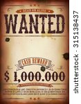 wanted vintage western poster ... | Shutterstock .eps vector #315138437