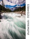 Mistaya River in the summer in Banff National Park, Alberta, Canada.