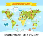 Funny Cartoon World Map With...