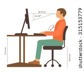 correct back sitting position ... | Shutterstock .eps vector #315153779