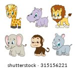 set of jungle cartoon animals.... | Shutterstock . vector #315156221