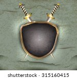 glossy antique shield with two... | Shutterstock .eps vector #315160415