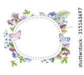 Stock photo vintage floral frame watercolor 315163697