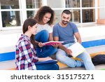 group of students sitting on... | Shutterstock . vector #315175271