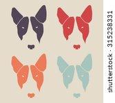 Set Of Bull Terrier Face. Dog...