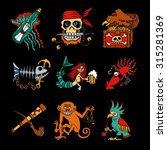 pirate legends cartoon icons on ... | Shutterstock .eps vector #315281369