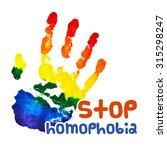 stop homophobia gouache poster. ... | Shutterstock . vector #315298247