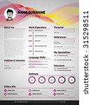 resume template  minimalist cv  ... | Shutterstock .eps vector #315298511