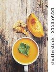 pumpkin soup   Shutterstock . vector #315359231