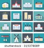 building icon set in flat design   Shutterstock .eps vector #315378089