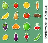 fruits and vegetables stickers... | Shutterstock . vector #315388031