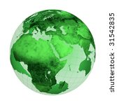 Green globe illustration isolated on white background - stock photo