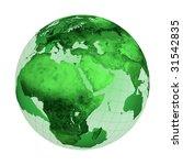 Green globe illustration isolated on white background - stock photo