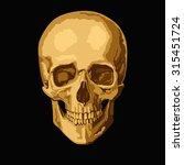 Gold Human Skull On  Black...