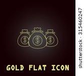 money bag. outline gold flat...