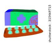 cartoon pills icon. the vector...