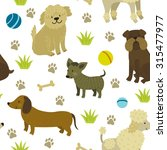 Stock vector vector seamless pattern with cute dogs bulldog dachshund bobtail poodle chihuahua repeating 315477977