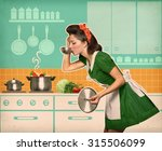 young housewife tasting her... | Shutterstock . vector #315506099