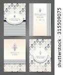 set of brochures in vintage... | Shutterstock .eps vector #315509075