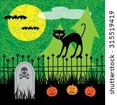 halloween black cat scene | Shutterstock .eps vector #315519419
