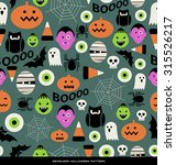 seamless halloween theme pattern | Shutterstock .eps vector #315526217