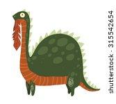 cartoon dinosaur eating leaves... | Shutterstock .eps vector #315542654