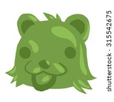 cartoon green gum bear icon....
