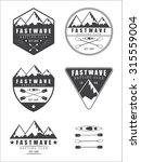 set if vintage rafting logo ... | Shutterstock . vector #315559004